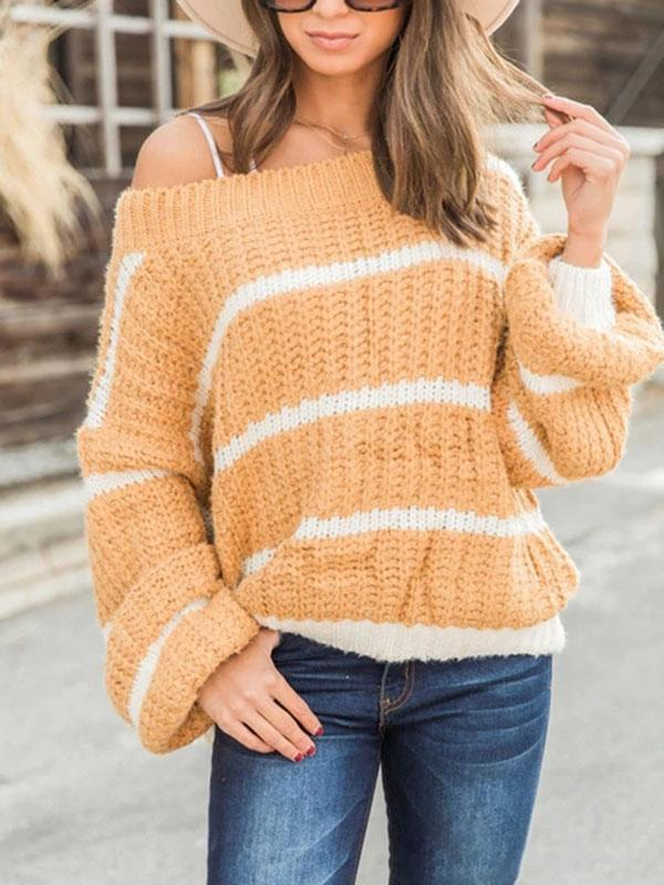 Bonnieshoes Pullover Bat Sleeve Crew Neck Knitting Sweater