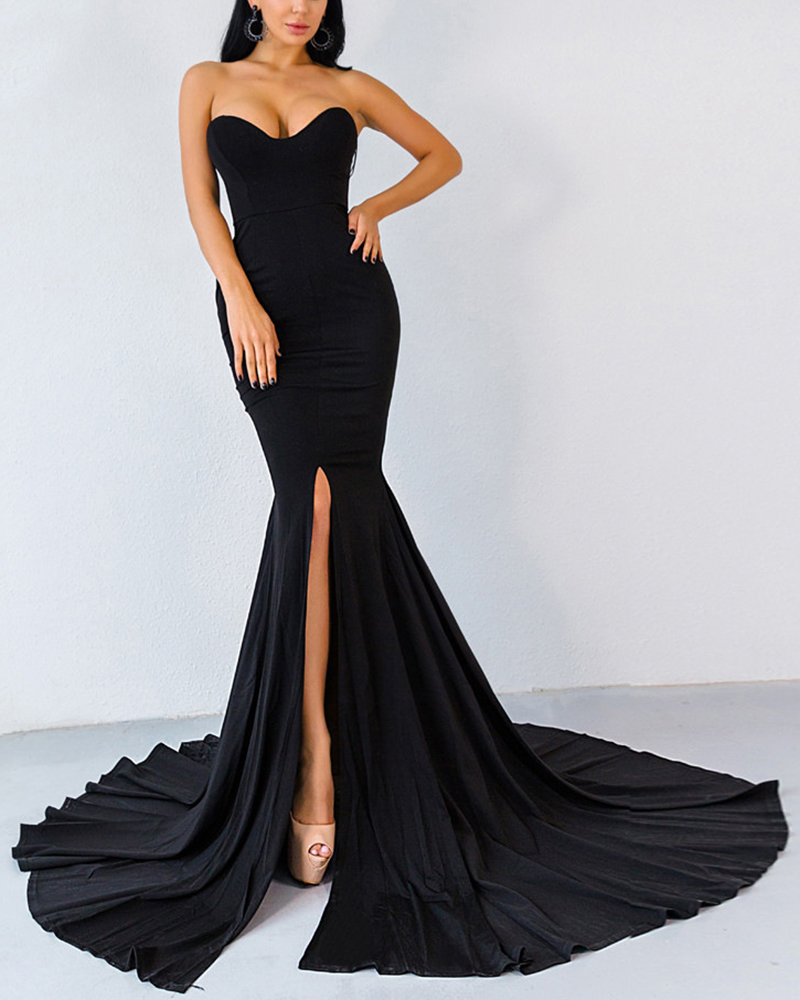 Fashion Solid Color Strapless Evening Dress