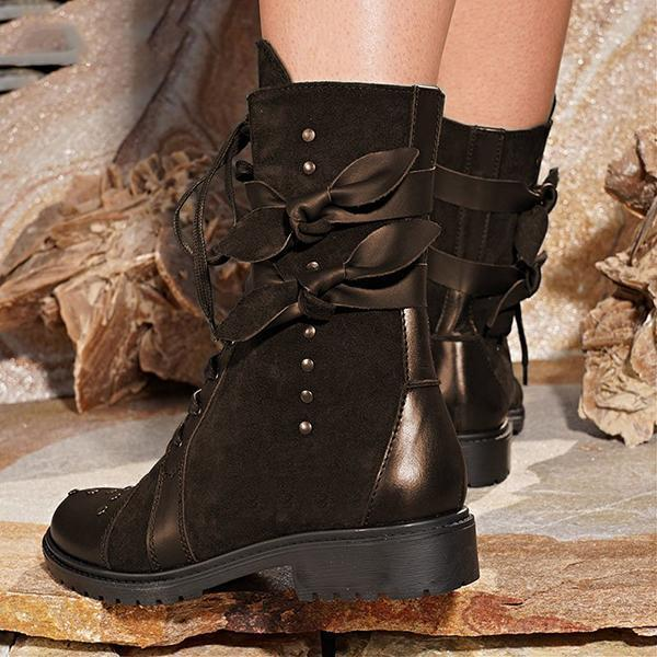 Mokoshoes Low Heel Bowknot Lace-Up Mid-Calf Boots