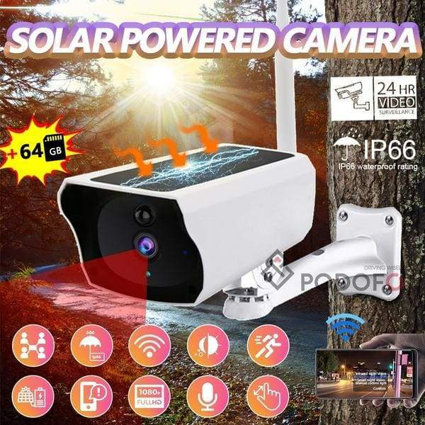[200W Pixels Solar Powered]1080P HD WiFi Security Surveillance IP Camera with Onvif WiFi CCTV PIR Motion Outdoor Wireless NetCam + 16/32/64G TF Card (optional)