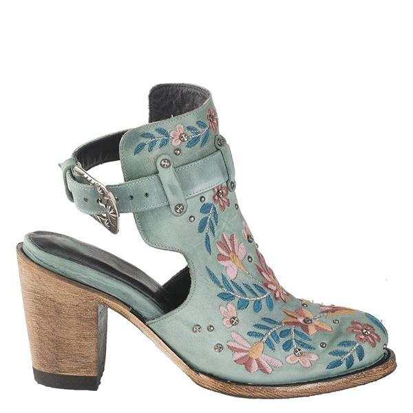 Bonnieshoes Vintage Floral Embroidery Round Toe Ankle Bootie