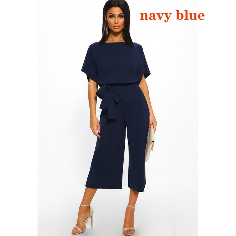 Jumpsuits Summer Simple Style Women Short Sleeve Jumpsuit Wide Leg Solid Color Business Wear