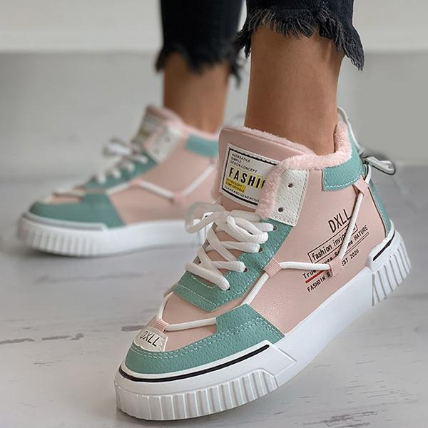 Mokoshoes Letter Print Colorblock Lace-Up Warm Sneakers