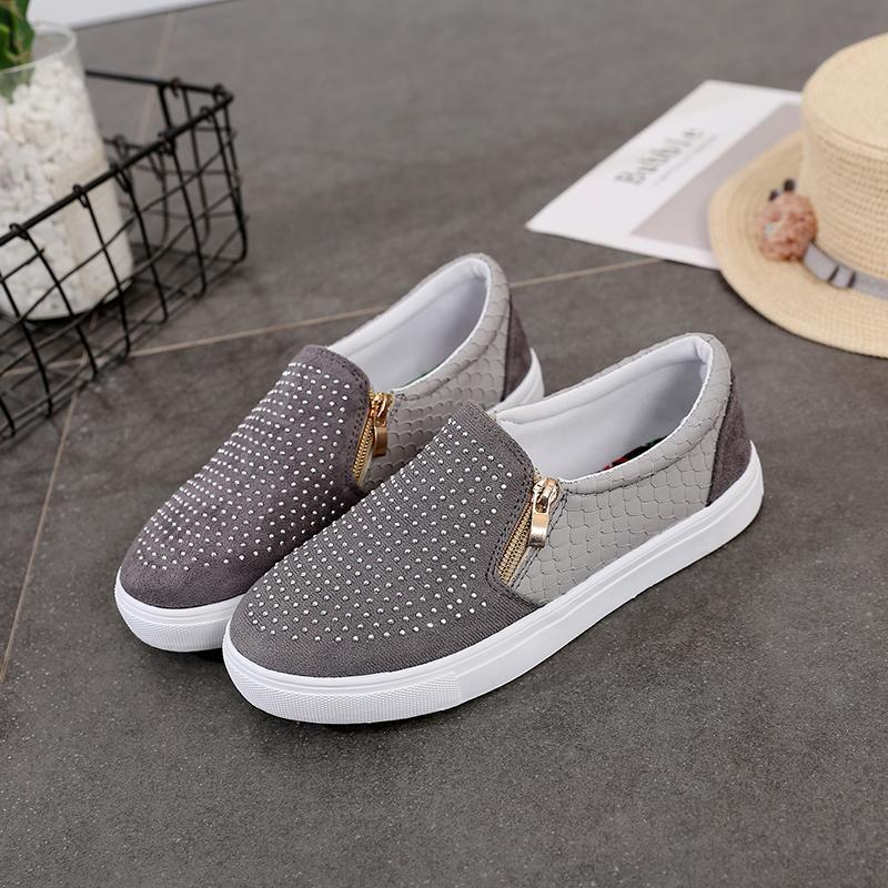 Women Snakeskin Zipper Rhinestone Flat Shoes Loafers