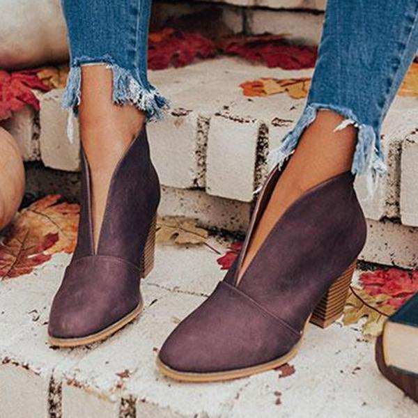 Zoeyootd Fashion Faux Leather Slip-on Boots