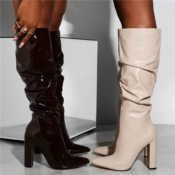 Twinklemoda Bright Leather Thick Heel Zipper Knee High Boots