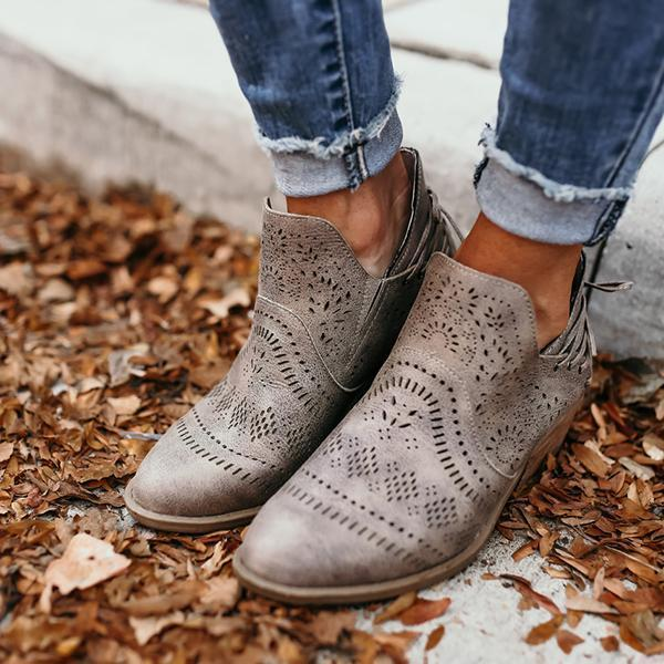 Zoeyootd Laser Cutout Ankle Booties