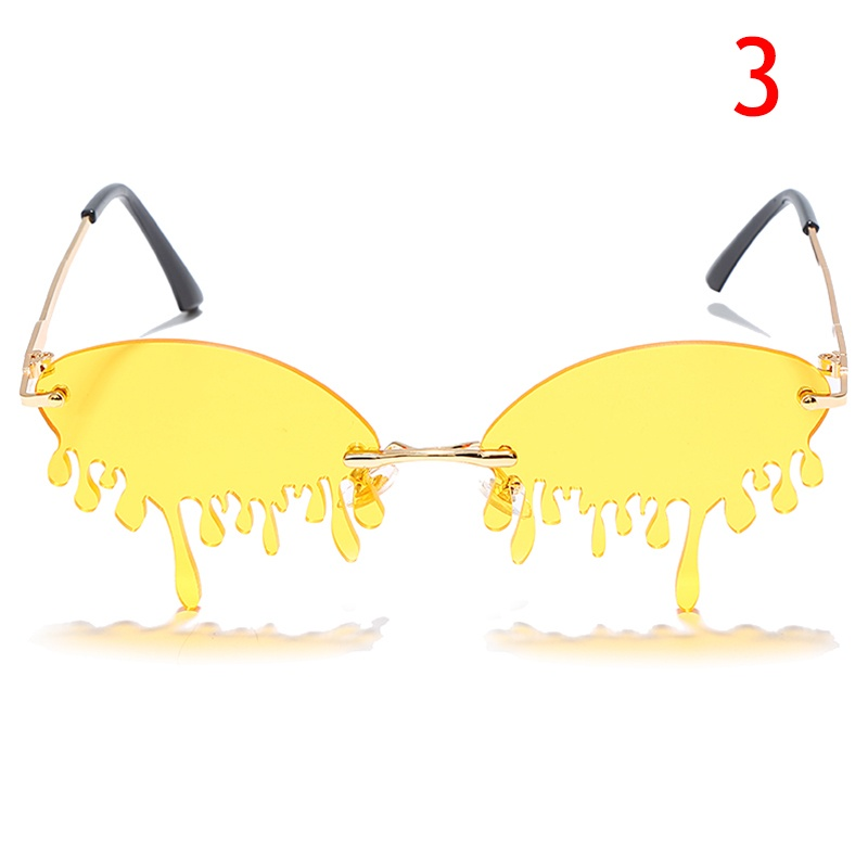 Newest Rimless GUVIVI Sunglasses Women Fashion Eyewear Oval Teardrop Blood Women Sun Glasses UV400 Punk Men's Metal Sunglasses