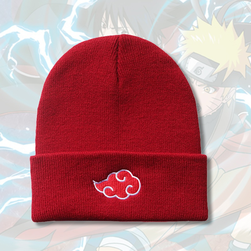 4 Colors Anime Naruto Akatsuki Cloud Logo Embroidery Beanies Hat Hip Hop Knitted Hat For Women Men