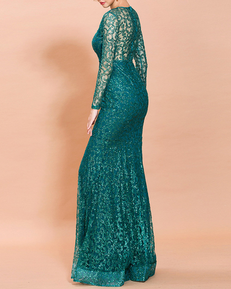 Sexy Round Collar Perspective Sequin Evening Dress