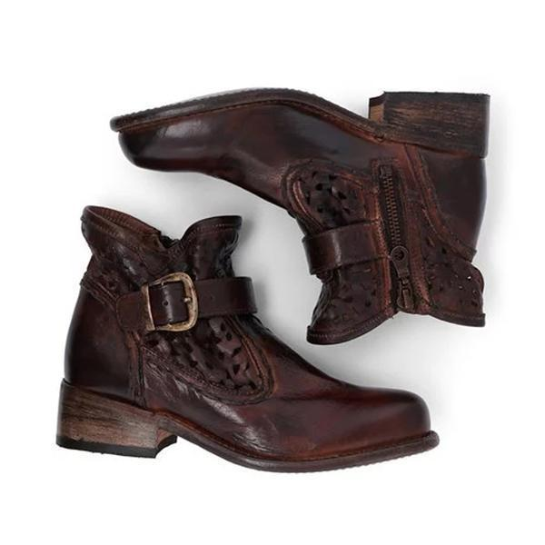 Mokoshoes Woman Hollow-Out Buckle Vintage Low Heel Round Toe Boots