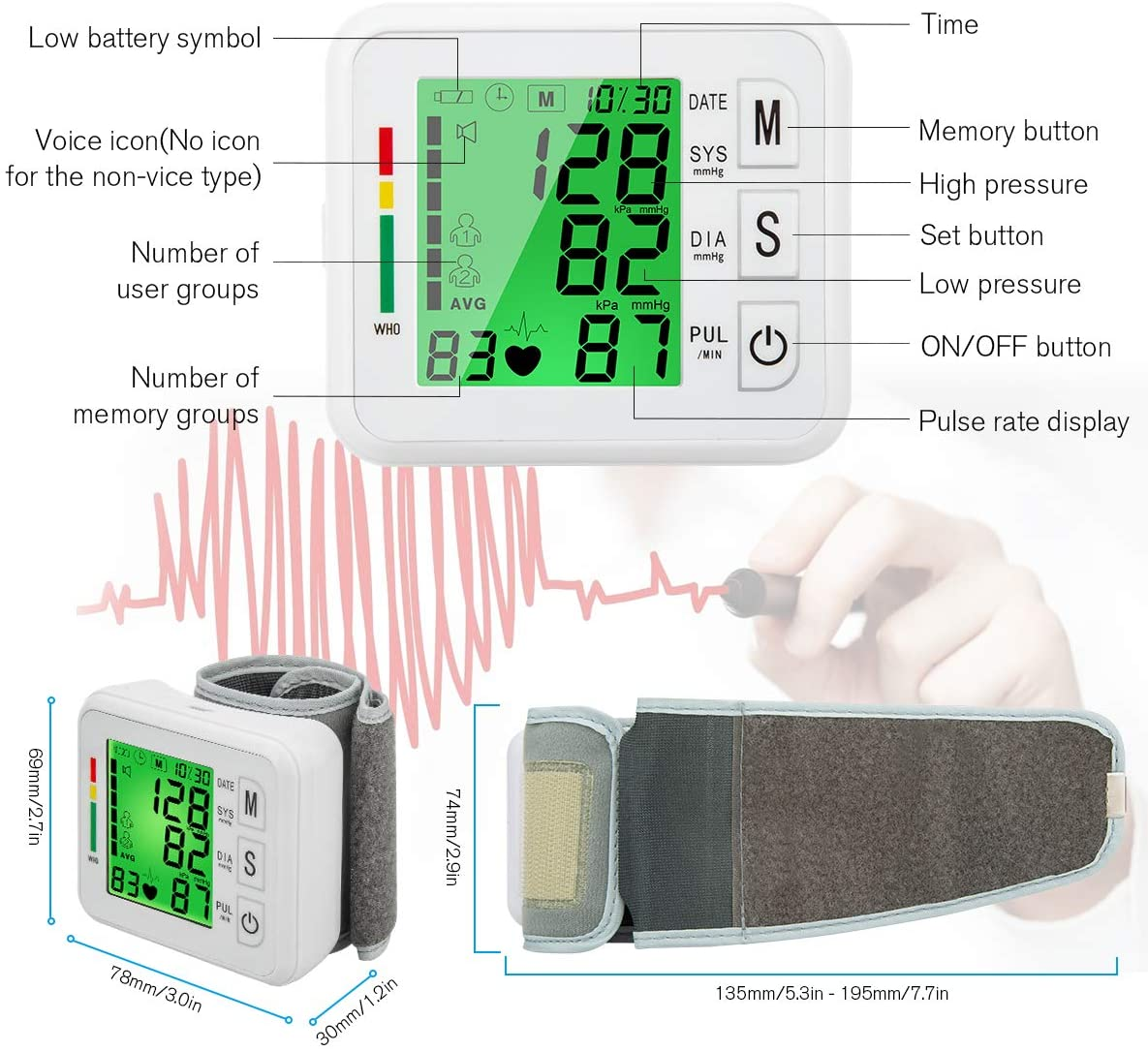 Digital BP Cuff Wrist Blood Pressure Cuff Monitor Automatic Large Backlight Rechargeable Wrist Blood Pressure Monitor Pulse Rate Monitoring Meter BP Machine for Home Use