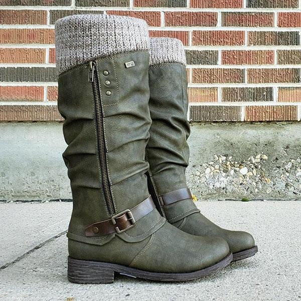 Bonnieshoes Wool Zipper Round Toe Mid Heel Boots