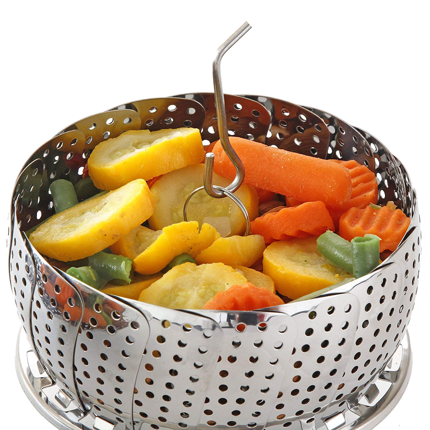 Stainless Steel Folding Steamer Basket-Expandable to Fit Various Size Pot