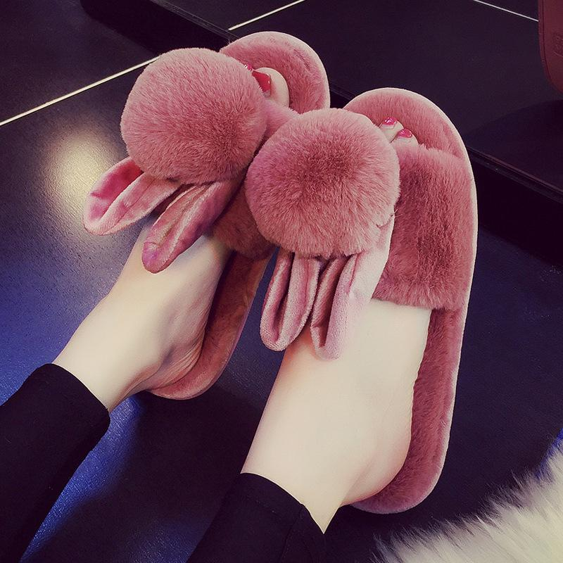 Cute bunny slippers furry warm fall/winter house shoes