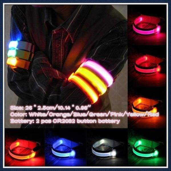 Sports Bike LED Safety Reflective Belt Strap Snap Wrap Arm Band Shine Armband