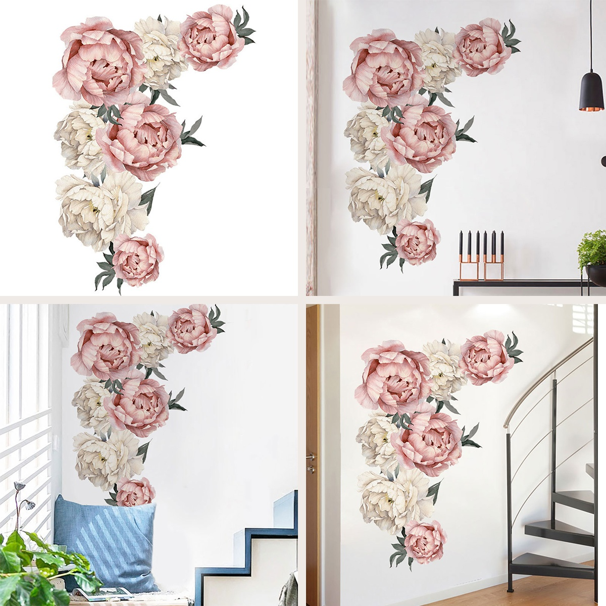 DIY Family Stickers Peony Flowers Pattern Wall Sticker Art Decal Background Sticker For Home Living