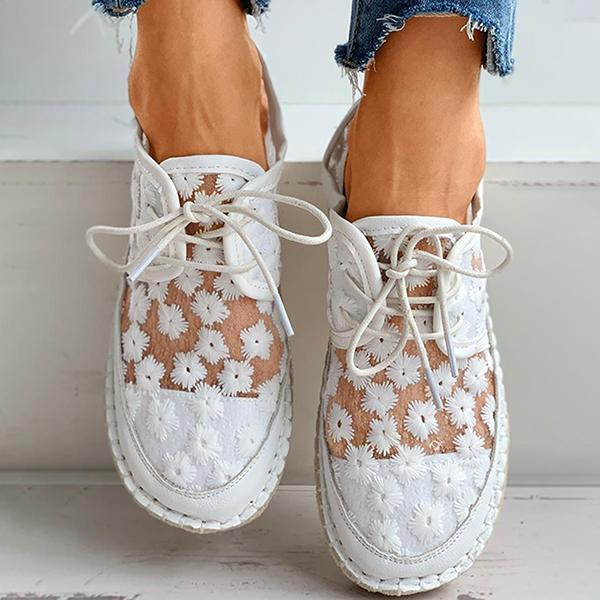 Bonnieshoes Floral Pattern Woven Flax Lace-Up Sneakers
