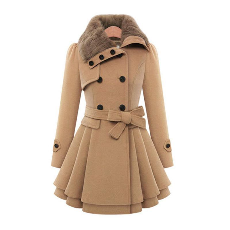 Women's double-breasted coat dress belted swing coat with fur collar