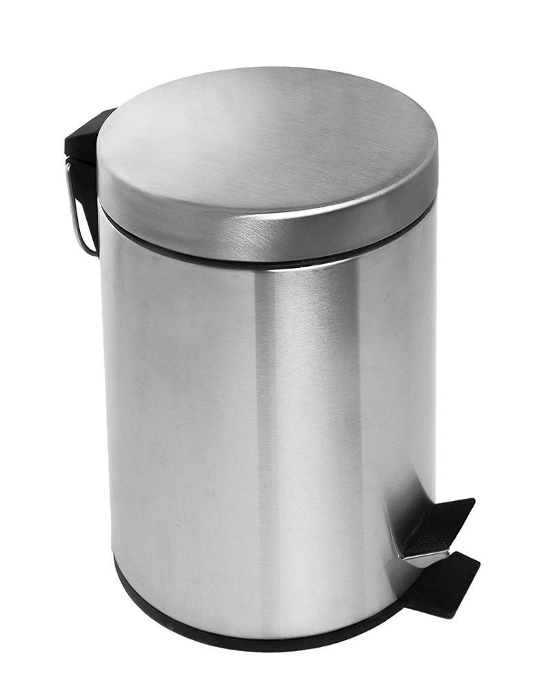 Round Brushed Stainless Steel Pedal Bin Step trash can-1.20