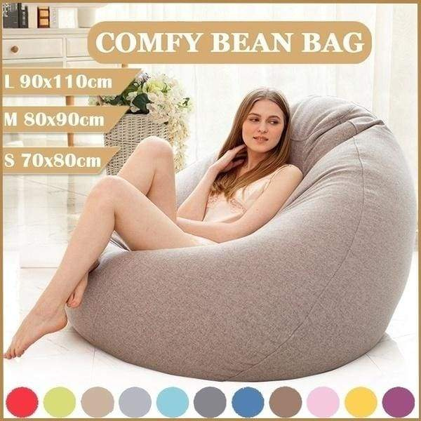 New S/M/L 9 Colors Stylish Bean Bag Sofa Cover Lounger Chair Sofa Seat Living Room Furniture Without Filler Beanbag Sofa Bed Pouf Puff Couch Cotton Chair Cover Only Cover (No Filling)