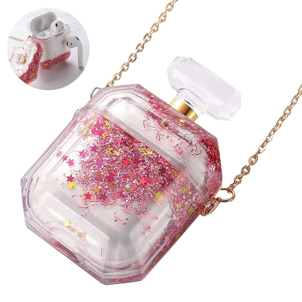 AirPods 1/2 Waterfall Quicksand Case Cover Clear for Apple Headphone Charging Case 2/1 Glitter Liquid Quicksand Bling Flowing Sparkle(PINK)