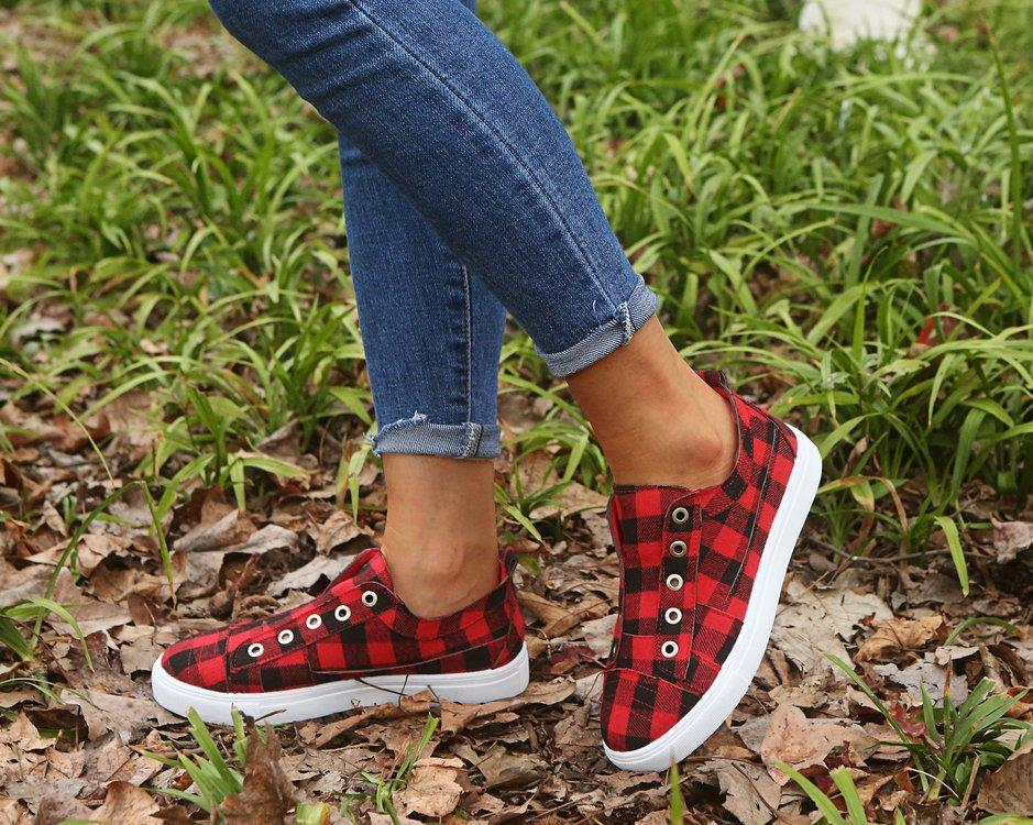 Women's plaid flat slip on sneakers summer fashion canvas shoes