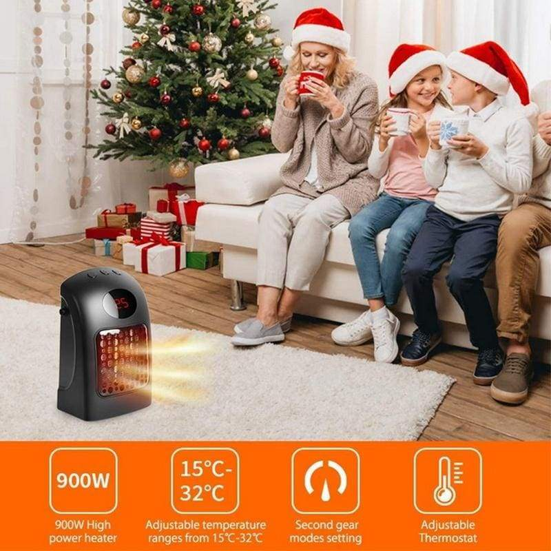 900W Ceramic Space Heater Portable Electric Heater Fan with Adjustable Thermostat & Overheat Protection for Home Office