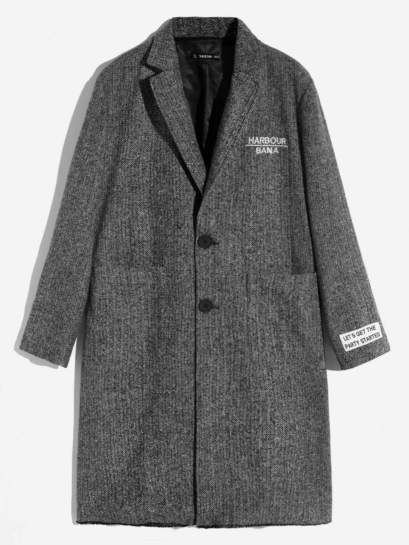 Men Single Breasted Frayed Trim Coat
