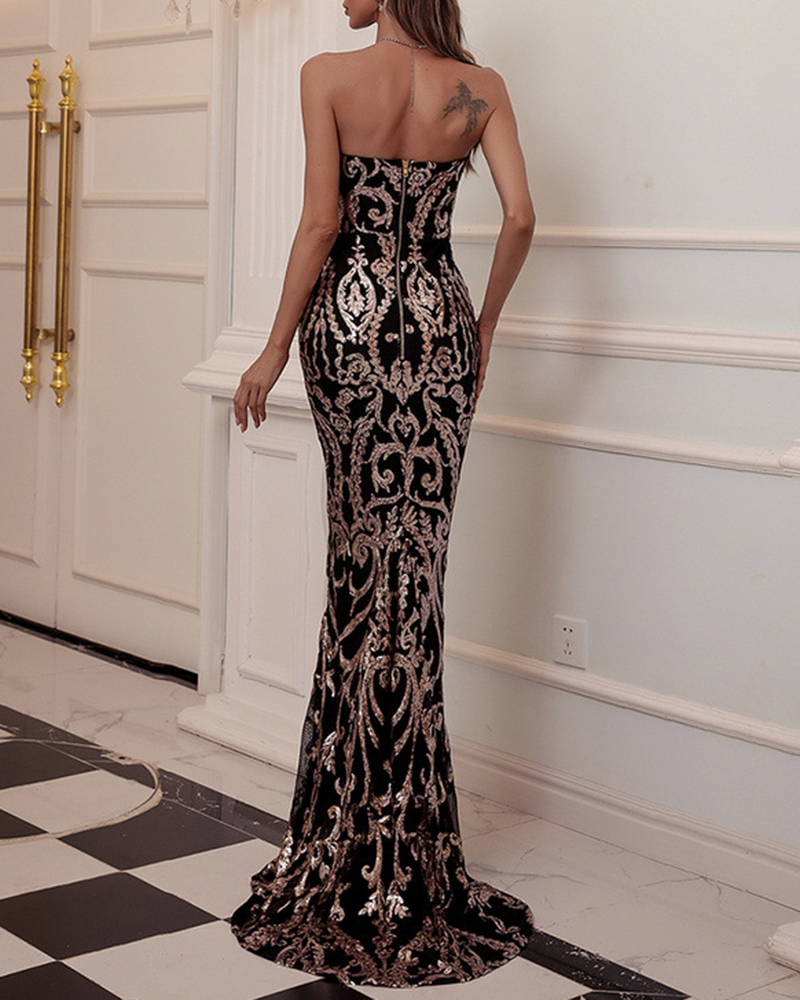 Off-The-Shoulder Sequined Fish Tail Evening Dress