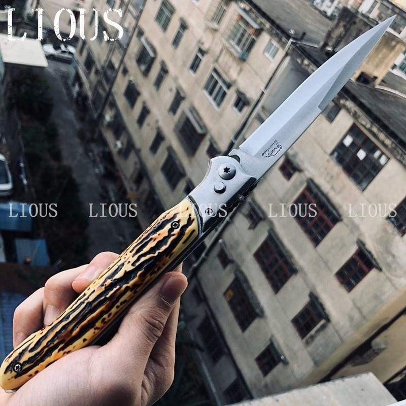 HOT ! MILIITARY TACTICAL OTF SPRING ASSIST OPEN KNIVES Finger Actuator Spear Folding Italian 12inch Stiletto Knife Outdoor Combat Hunting Dagger Survival Tools-3Colors