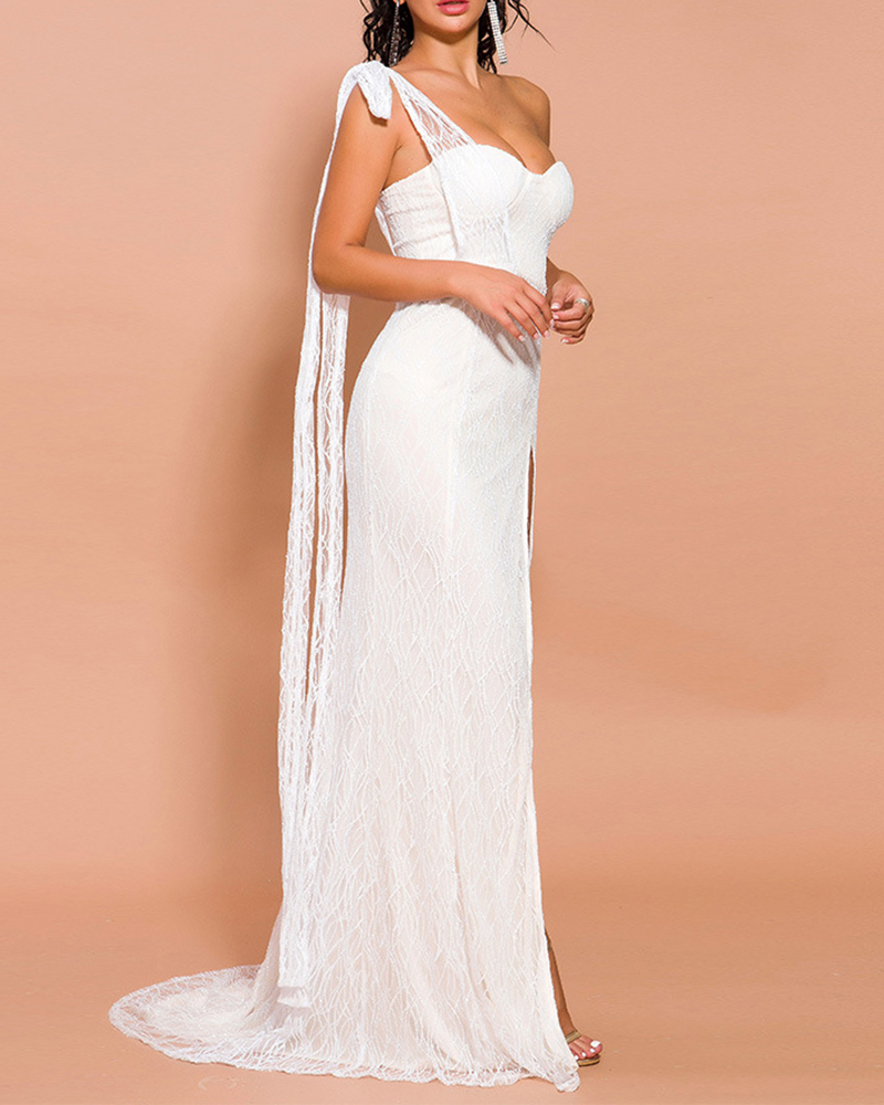 Off-The-Shoulder Breast-Wrap Lace Evening Dress
