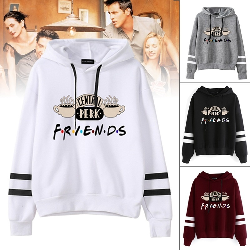 Women Fashion Long Sleeve Letter Printed Coffee Hoodie Casual Friends Tv Show Hooded Sweatshirt Pullover