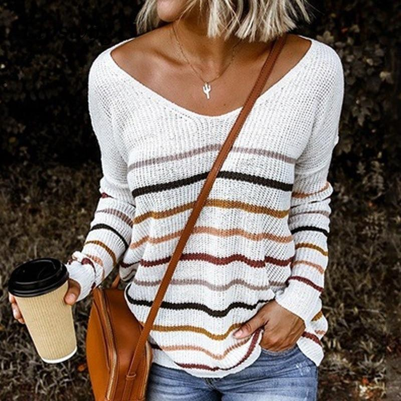Women's v-neck sxey color striped knitted sweater fall/winter sweater tops