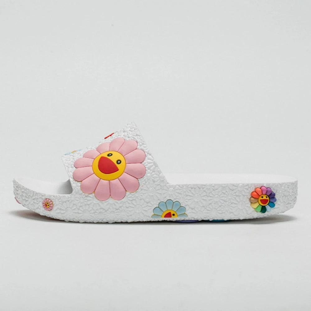 Bonnieshoes Colorful Smile Sunflower Emblished Beach Slippers