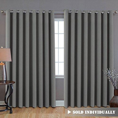 H.VERSAILTEX Blackout Patio Grey Curtains, Extra Long and Wider 100