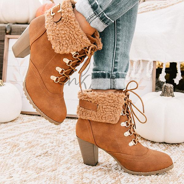 Bonnieshoes Buckle High Heel Lace Up Boots