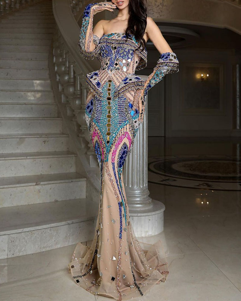 Fashion Off-shoulder Sequin Bodycon Evening Dress