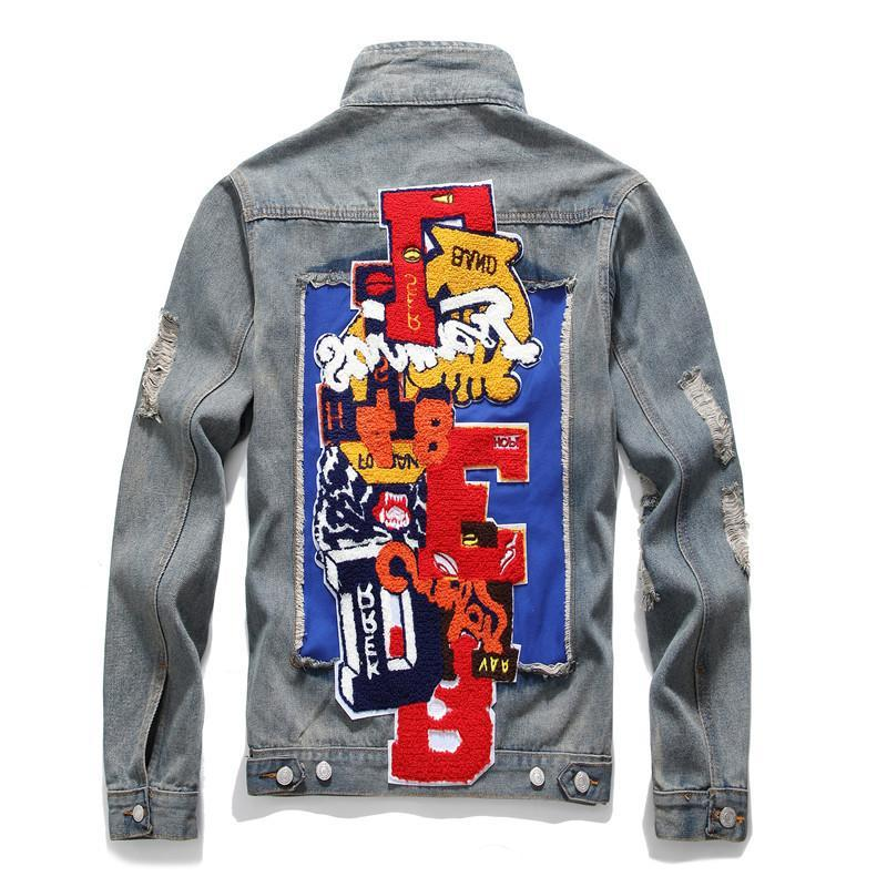New American Badge Letters Demin Jacket Coat