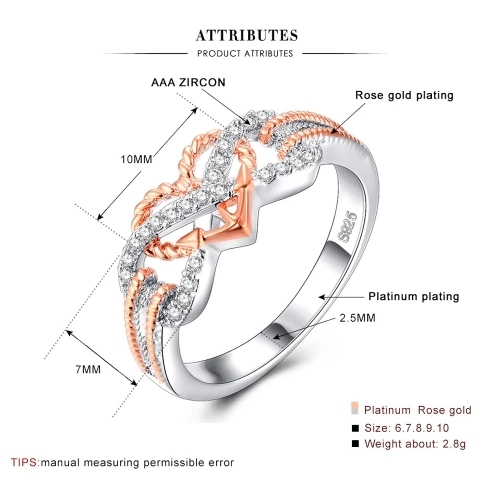 Shape of Love Heart Diamond Ring Golden Fashion Crystal Rings Jewelry for Party Wedding Accessories of Women and Girls