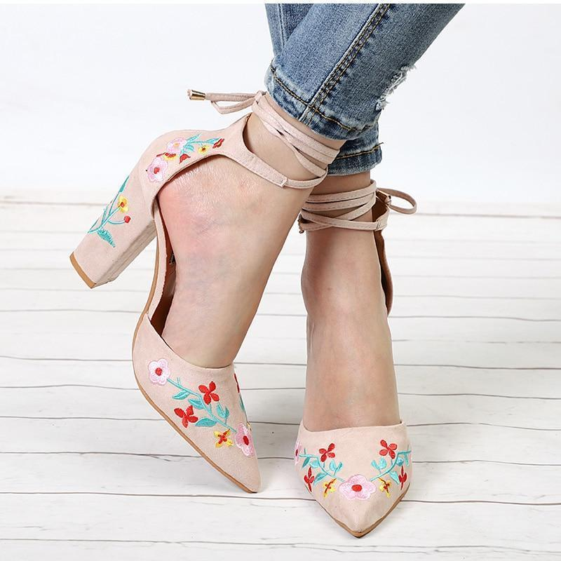 Pointed Toe Embroidery Lace up Heels
