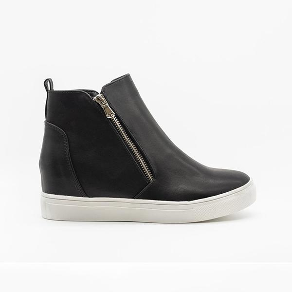 Bonnieshoes Zippered Fashion Wedge Sneakers