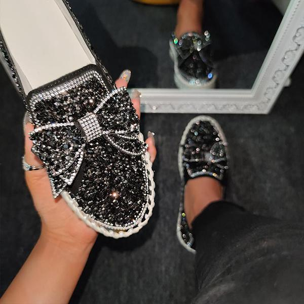 Upawear Women Shining Rhinestone Slip-on Loafers&Sneakers with Cute Bowknot