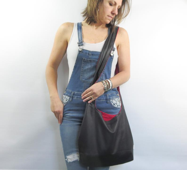 leather purse hobo bag. design your own black or charcoal gray faux leather cross body bag or shoulder purse two sizes. solid or pattern in        Update your settings