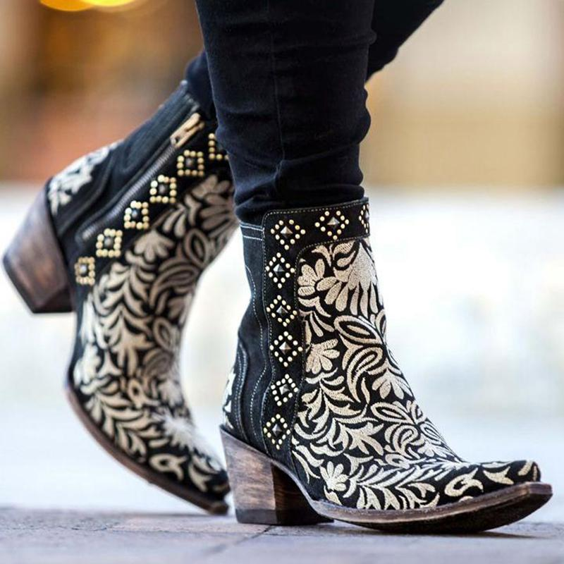 Women'S Embroidered Side Zipper Ankle Boots Western Boots
