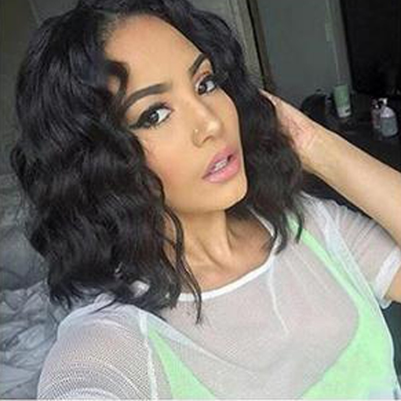 New Brazilian hair wig pre-picked lace front wig with baby hair curl Peruvian Virgin Wig