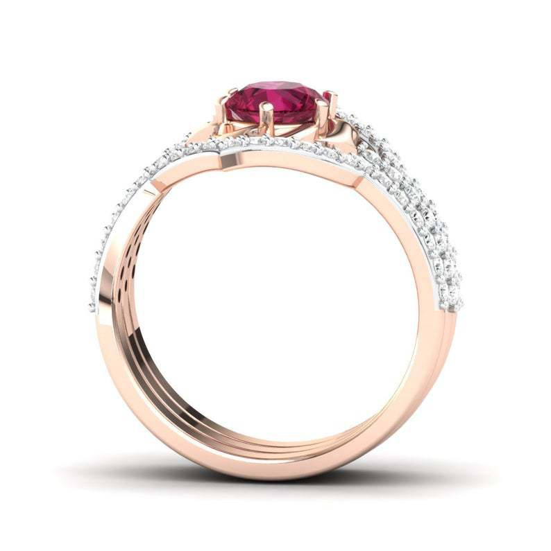 3 Pcs/set Dazzling Bridal Wedding Jewelry 925 Sterling Silver In 18k Rose Gold Plated Natural Rose Red Gemstone Ring Set Birthstone Wedding Band Engagement Party Christmas Gift Ring Jewelry Size 5-12