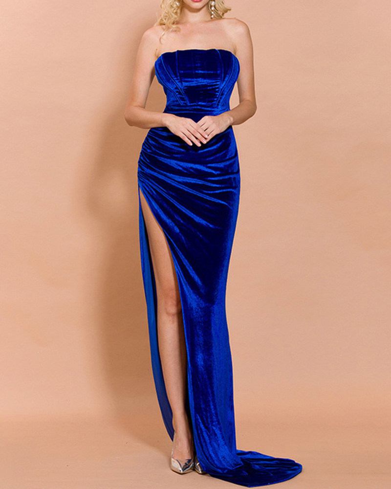 Fashion Strapless Solid Color Split Tail Evening Dress