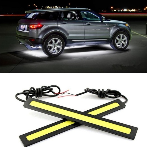 2PCS/SET 17cm LED DRL Waterproof Driving Daytime Running Lights Strip 12V COB LED Car Aluminum Stripes Lights For Universal Car
