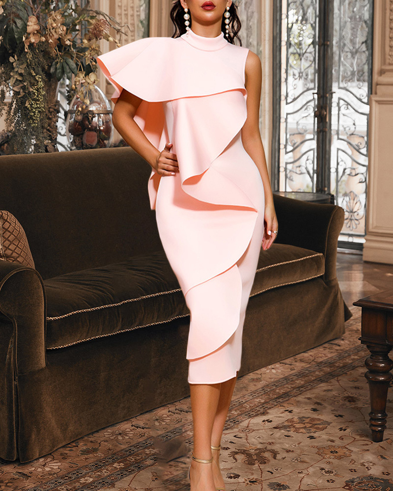 Off-The-Shoulder Flouncing Midi Evening Dress
